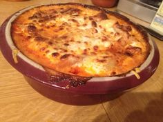 Delicious homemade lasagna in my new round covered baker from Pampered Chef!