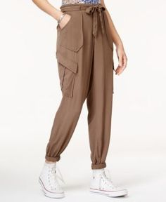 American Rag Juniors' Tie-Front Jogger Pants, Only at Macy's - Green 11