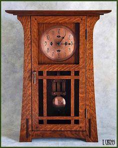 Arts & Crafts clock Craftsman Clocks, Craftsman Style Furniture, Mission Style Furniture, Craftsman Decor, Arts And Crafts Furniture, Arts And Crafts House, Wood Clocks, Antique Clocks, Vintage Clocks