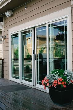 Andersen Sliding French Doors Leading Out To Deck Suburban Es Gl Patio