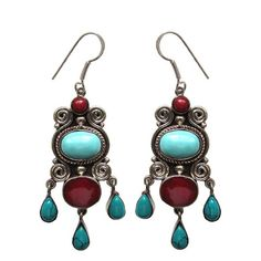 Turquoise Natural Stone Drop Earrings 'Zar' – Bijoux Closet
