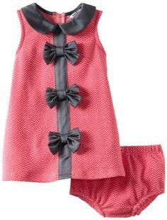 Hartstrings Baby-Girls Infant Zig Zag Knit Jacquard Dress and Diaper Cover Set, Herringbone, 18 Months