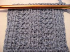 Tunisian crochet rib stitch - uses just the basic & the purl stitches to make the pattern