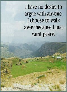 Quotes I have no desire to argue with anyone, I choose to walk away because I just want peace.
