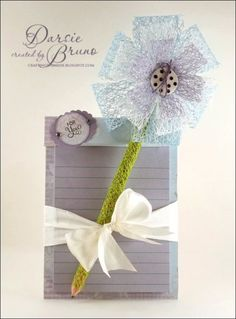 cute notepad and pencil gift I created using medium netting from the Stamp Simply Ribbon Store and @Marsha Grove Papercraft, Inc. Antique Autumn Tags One