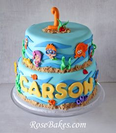 Bubble Guppies Birthday & Smash Cakes.  Click over for lots of photos and details and find out my secret on this cake!
