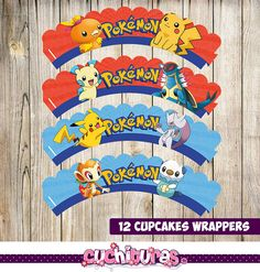 80 Off 12 Pokemon Cupcake Wrers Instant Printable Party