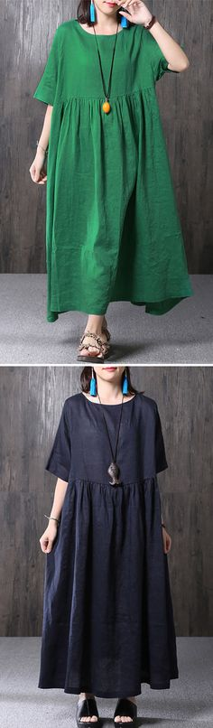 US$ 23.99 O-NEWE Elegant Loose Pure Color Dresses Maxi Dresses For Women