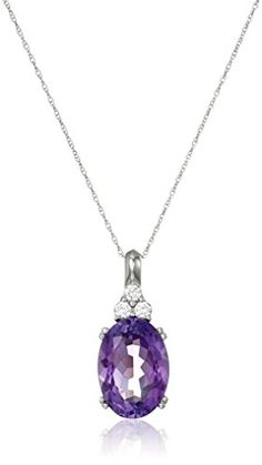 """10k White Gold and Oval Amethyst Pendant Necklace, 18"""" Amazon Collection http://www.amazon.com/dp/B0061Q46OI/ref=cm_sw_r_pi_dp_O.NSwb10WH63B"""
