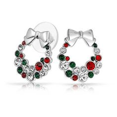 Bling Jewelry Garnet Emerald Color Crystal Christmas Wreath Bow Stud... ($19) ❤ liked on Polyvore featuring jewelry, earrings, multicolor, clear stud earrings, crystal stud earrings, multi colored stud earrings, emerald stud earrings and garnet earrings