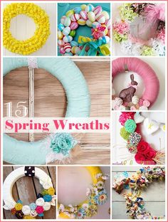 15 Spring Wreaths - Dress up your front door with these playful DIY wreath inspirations! Crafty Craft, Crafty Projects, Diy Projects To Try, Crafts To Do, Diy Crafts, Crafting, Spring Crafts, Holiday Crafts, Holiday Fun
