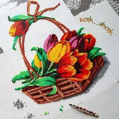 Flower basket hama mini beads by renk__ahenk