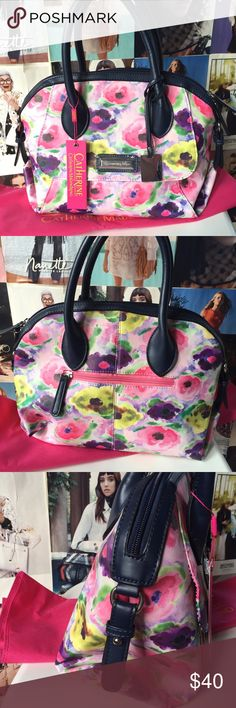 catharine malandrino + eli satchel So pretty and summery, this Eli Satchel by Catharine Malandrino is roomy enough to carry your everyday necessities but not so large it can't be considered a purse. Comes with dustbag. NWT. Catherine Malandrino Bags Satchels