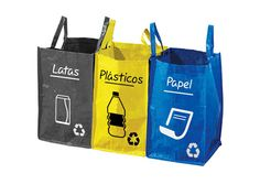 Bolsas de Reciclaje para latas, plásticos y papel. Son lavables y se unen con velcros. Recycling Bags, Reusable Tote Bags, Recycling Bins, Tin Cans, Paper Envelopes, Bags, Cooking
