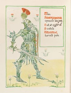 Thistle Knight, in 'A Floral Fantasy in An Old English Garden'  by Walter Crane. [thistle, Cirsium sp., Asteraceae]