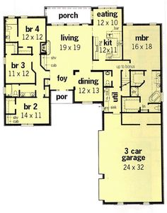 Interesting, no wasted space, could do one accessible bathroom, dining room into office with a bigger breakfast spot.or bonus upstairs room for office/game room.First Floor Plan of European House Plan 60265 Dream House Plans, House Floor Plans, My Dream Home, Building Plans, Building A House, European House, European Style, House Blueprints, House Layouts