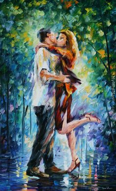 Leonid Afremov: Rainy Kiss