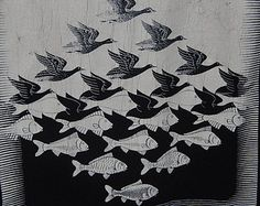 op art pajaro-pez