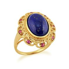 Make a statement with this unique ring. Gold Plated Sterling Silver 5.30ct Lapis Lazuli & 0.20ct Rhodolite Cocktail Ring, £49. Available at: http://www.gemondo.com/p-21604-gold-plated-sterling-silver-530ct-lapis-lazuli-020ct-rhodolite-cocktail-ring.aspx