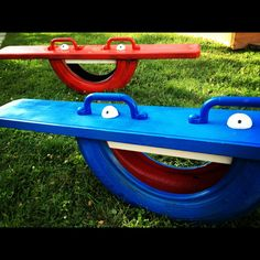 Tire-totter or monster-totter. Turn an old tire into a pair of fun new rides
