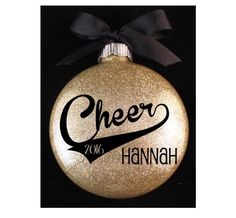 Cheerleader Christmas Ornament, Cheer Ornament with Name and Year by myposhcreations on Etsy https://www.etsy.com/listing/245605651/cheerleader-christmas-ornament-cheer