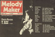 A Marc In Time...October 19th 1971 The Electric Warrior UK Tour commences in Portsmouth and continues in Plymouth Cardiff Sheffield Croydon Bradford Brighton Glasgow Edinburgh Newcastle and more cites into November
