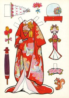 I got 2 more Japanese paper doll books! So…I'll just go ahead and put these here… Paper Dolls Book, Vintage Paper Dolls, Paper Toys, Paper Art, Paper Crafts, Paper Puppets, Paper People, Thinking Day, Creation Couture