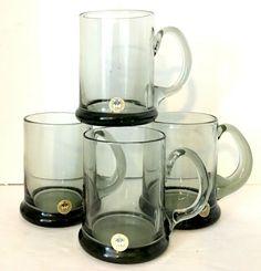 "Kastrup Holmegaard Beer Mugs Smoke Glass 4.5""H 10 oz Set of 4 Per Lutkin EUC #Holmegaard #MidCenturyModern"