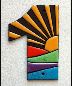 """Hausnummern - Hausnummer Schild """"Sonne Landschaft"""" - ein Designerstück von Ton-Kunst-Keramik bei DaWanda"""