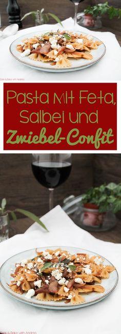 Pasta mit Feta, Salbei und Zwiebel-Confit. #veg