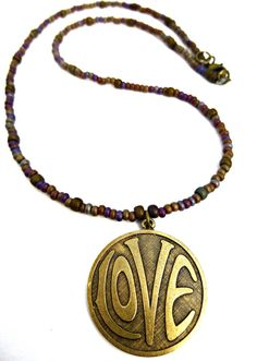 LOVE necklace. Purple & gold. Brass metal love