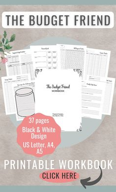 If you need a helping hand with your budget, this is it! The printable Budget Friend Workbook is a game changer! #money #budget #billpaymentchecklist #budgetbypaycheck #debttracker #savingstracker #networth #moneyjournal