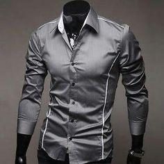 Men Dress Shirt Chemise Camisa Gray 3fd145e46c449