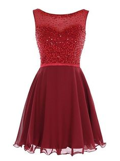 Cute Prom Dress,Chiffon Homecoming Dress,Beading Graduation Dress,O-Neck Short