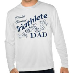 Triathlon Sport Worlds Greatest Triathlete Dad T-shirt This custom swim, bike, run triathlete sports design for fathers features a swimmer, cyclist and runner. Makes a great dads gift for a triathlon coach, recreational athlete, elite or professional athlete. Great gift for your father for Christmas, Fathers Day, his birthday or just because.