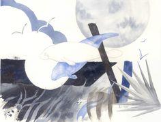 Watercolor original 15 x 19 sea cow bowman Blue Manatee Moon design blue black brown Florida. $100.00, via Etsy.