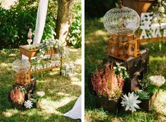 Marrying for love is simple. Ana and David's rustic wedding by Pedro and Marina. Love the bird cage, local flowers and the succulents as a wedding decoration! | Portugal wedding photographers. More here: http://www.fotografamos.com/2014/10/22/marrying-for-love-portugal-wedding-photographer-ana-david/