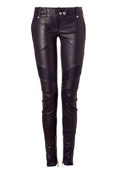 Blue Low-Rise Skinny Leather Pants Balmain — Ultra-luxe of-the-moment skinny leather pants from BalmainSnap tab closure, belt loops, zip pockets, stitching details at fly, thighs, and back, seaming details, zips at hem, skinny fit