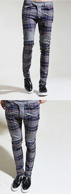 Bottoms :: Jeans :: Contrast Checkered Slim Biker-Jeans 70 - Mens Fashion Clothing For An Attractive Guy Look