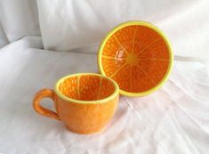 Orange MUG Fruit mug Big cup Half of orange cup Tangerine mug Handmade Ceramic cup Artisan pottery Wide mug Funny cup Cute gift for a friend Orange Plates, Orange Cups, Ceramic Cups, Ceramic Pottery, Ceramic Art, Pottery Painting, Ceramic Painting, Funny Cups, Cute Cups