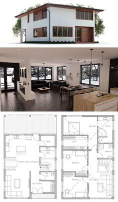 Small Home Plan, Small House Design Guest House Plans, Modern House Plans, Small House Plans, House Floor Plans, Open Plan House, Casas Containers, Small House Design, House Layouts, Building A House