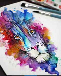 46 Ideas Tattoo Lion Watercolor Faces tattoo is part of Lion painting - Kunst Tattoos, Aquarell Tattoos, Watercolor Face, Watercolor Tattoo, Watercolor Paintings, Watercolor Animals, Alcohol Ink Painting, Alcohol Ink Art, Animal Paintings