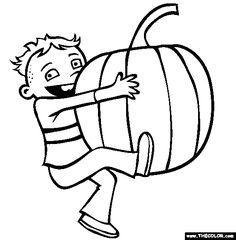 A Boy Jumping Into A Pile Of Leaves Coloring Pages
