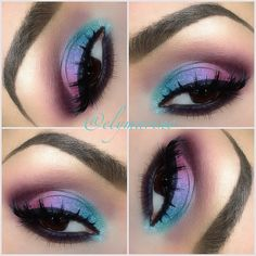 """♡ ✴Colorful eyes♥✤ The shadows used are all Mac! """"Aquadisiac"""" in the tear duct and first part of the lid following with """"Fresh Water"""" then """"Beautiful Iris"""" and """"Hepcat"""" In the crease I have """"Fig 1"""" and """"Vibrant Grape"""" for blending. And for a little sparkle ✨I used MAC's reflects pearl glitter!!   ✧ ✴ ✧ - @elymarino"""