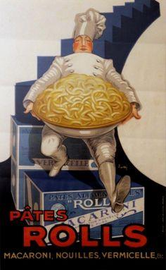 Pates Rolls Pasta, 1920s - original vintage poster by E Lotti listed on AntikBar.co.uk