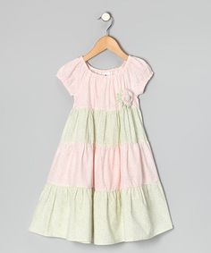 Take a look at this Pink & Sage Floral Tiered Dress - Infant, Toddler & Girls by Beehave on #zulily today!