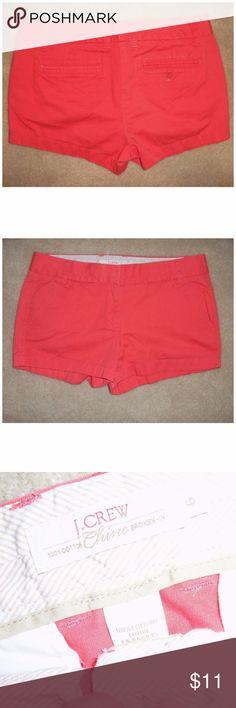 "J. Crew Coral orange broken in chino shorts size 6 J. Crew Coral orange broken in chino shorts size 6 EUC (2.5"" inseam)  Waist: ~34"" Rise: ~9"" Inseam: ~2.5  100% Cotton. Excellent condition. J. Crew Shorts"