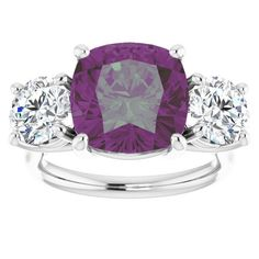 A 4CT Cushion Checkerboard Cut Alexandrite Three Stone Journey Ring Most Popular Engagement Rings, Engagement Ring Styles, Platinum Wedding, Alexandrite, Prong Set, Cushion Cut, Moissanite, Fashion Rings, Wedding Bands