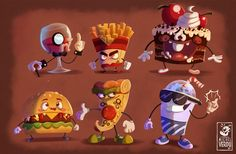 Junk food gang, Michel Verdu on ArtStation at https://www.artstation.com/artwork/rDQeJ