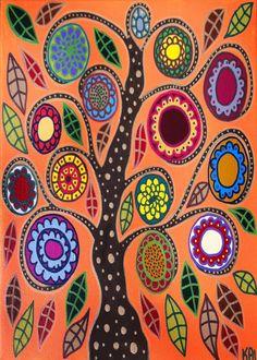 Kerri Ambrosino Mexican Folk Art PRINT Pumpkin Tree of Life Flowers Orange Autumn Fall on Etsy, $20.00